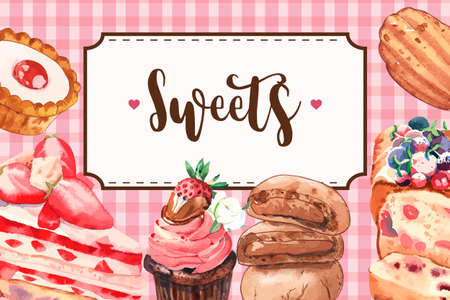 Dessert frame design with pie, strawberry cake, cookie watercolor illustration.