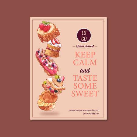 Dessert poster design with Choux cream, Meringue, Strawberry shortcake watercolor illustration.