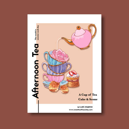 Dessert poster design with Tea Time, flower, Choux cream, cup, cake watercolor illustration.