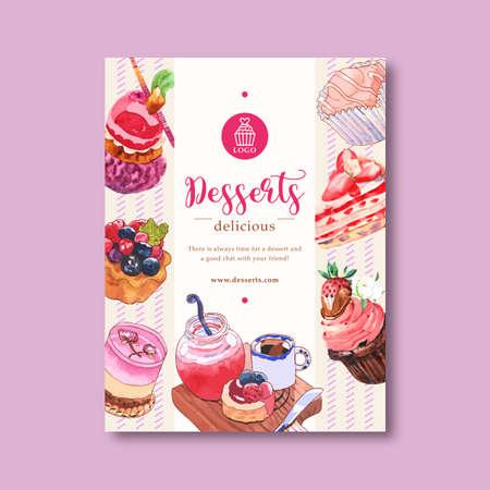 Dessert poster design with mousses, cupcake, tart, shortcake, jam watercolor illustration. Vektoros illusztráció