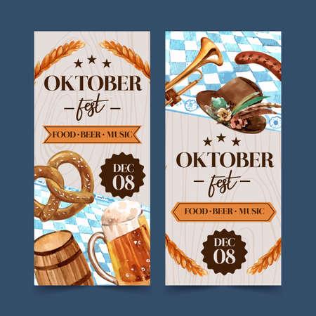 Pretzel, wheat, beer and tyrolean hat flyer design watercolor illustration.