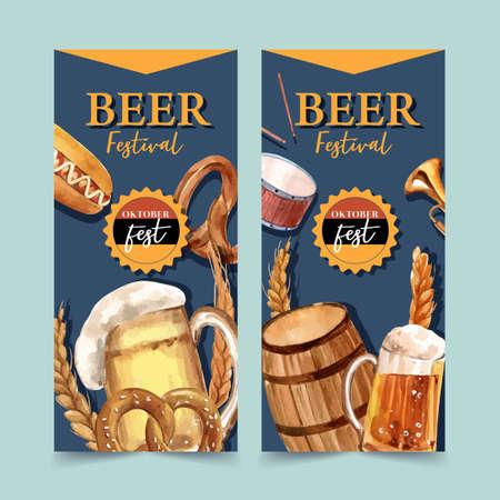 Pretzel, sausage, beer and musical at Oktoberfest flyer design watercolor illustration.