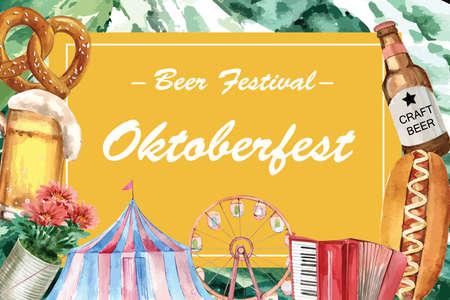 Oktoberfest frame design pretzel, beer and entertainment watercolor illustration. Ilustração