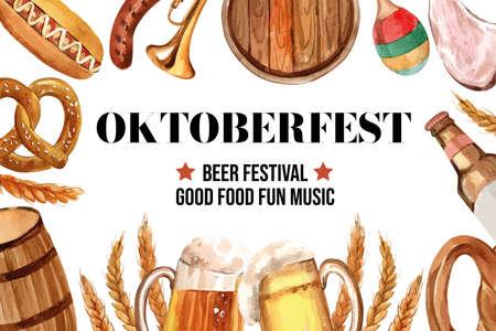 Oktoberfest frame design with beer, sausage, pretzel and entertainment watercolor illustration.