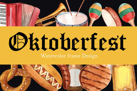 Oktoberfest frame design with pretzel, sausage, beer and entertainment watercolor illustration.