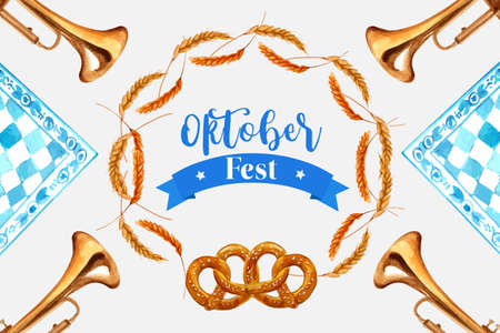 Wheat, barley and pretzel frame design with element watercolor isolated  illustration.