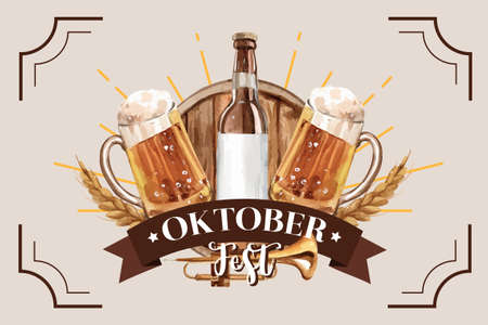 Oktoberfest classic frame design with beer bucket and wheat watercolor illustration.