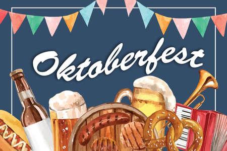 Oktoberfest frame design with sausage, pretzel, beer and entertainment watercolor illustration. Ilustração