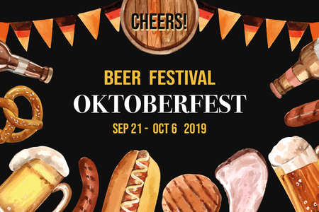 Beer, pretzel, sausage, barbecue frame design element with watercolor illustration.