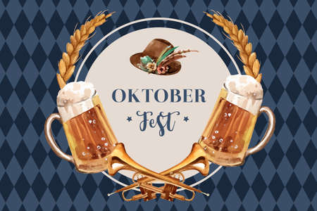 Oktoberfest frame design with beer, tyrolean hat, wheat and trumpet watercolor illustration.