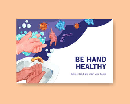 template with global handwashing day concept design for social media and online marketing watercolor vector Иллюстрация