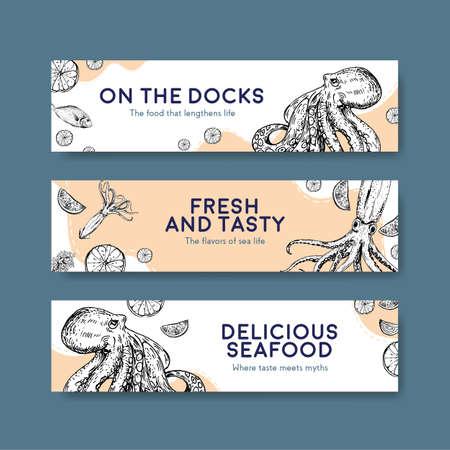 Big menu template with seafood concept design for restaurant and food shop vector illustration