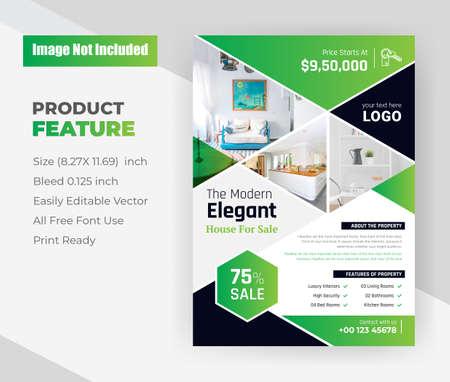 Elegant home for Sale real estate Flyer Template
