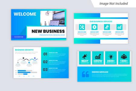Green Color Corporate Business presentation Slides Design Vettoriali