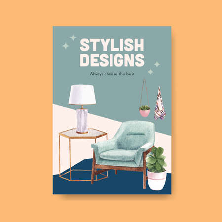 Poster template with luxury furniture concept design marketing and ads watercolor vector illustration Vecteurs
