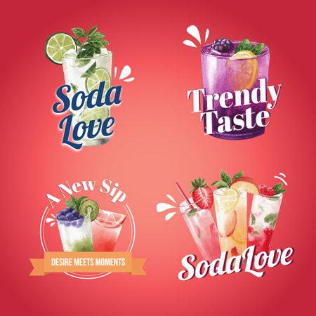 Soda drink logo design watercolor vector illustration