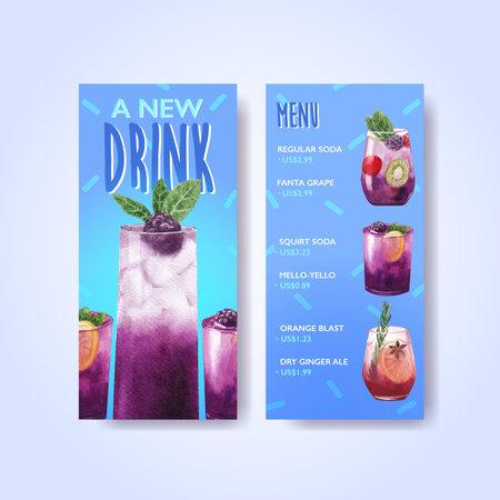 Soda drink menu leaflet and brochure watercolor vector illustration