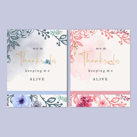 Mother's Day card Elegant flowers, line flower vector illustration template design Vector Illustration