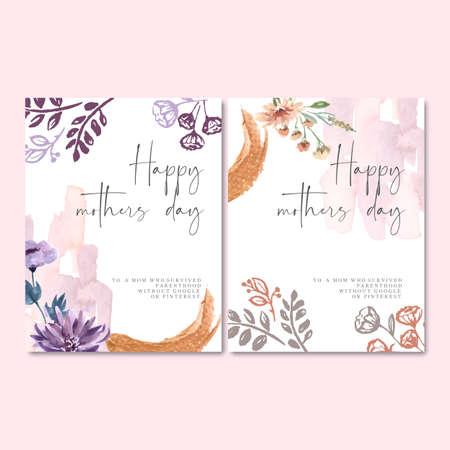 Mother's Day card Elegant flowers, line flower vector illustration template design