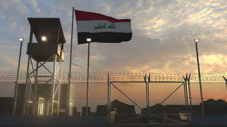 Military base with waving flag 3d Reklamní fotografie