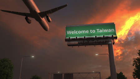 Airplane flies above WELCOME TO TAIWAN highway sign in the evening, 3d rendering