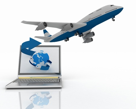 The plane takes off from the laptop monitor Stock Photo - 11763878