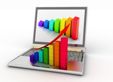 3d laptop with chart on monitor and business diagram Stock Photo - 11763879