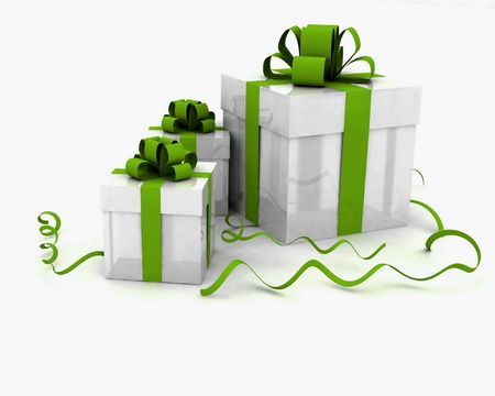 Illustration of boxes with christmas gifts Stock Photo
