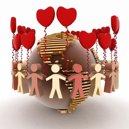 paz mundial: concepción del amor y la amistad en todo el mundo Foto de archivo