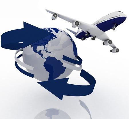 passenger jet airplane travels around the world Stock Photo - 11845238