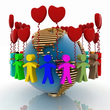 around: conception of love and friendship in the whole world Stock Photo