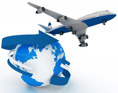 passagiersvliegtuig vliegtuig reist de wereld rond