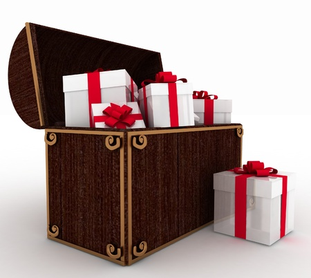 old container: open treasure chest with gift boxes Stock Photo