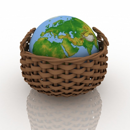 hand baskets: wicker basket containing a globe