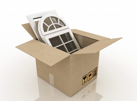 relocate: plastic windows in cardboard box  on a white background