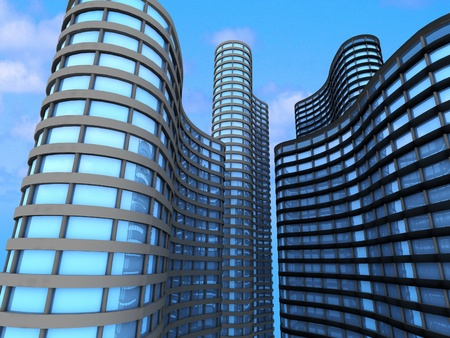 Skyscrapers.3d render photo