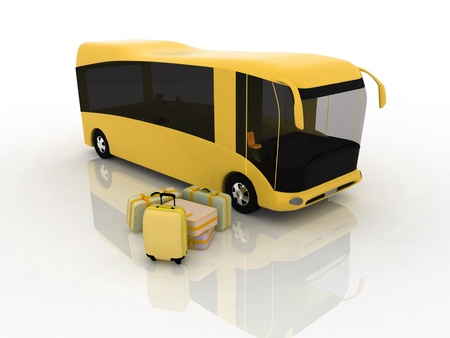 Bus and luggage on a white background photo
