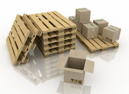 palet: Las cajas de cart�n sobre pallet de madera Foto de archivo