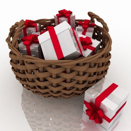gift boxes in a braiding basket on a white background photo