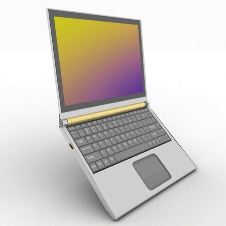 Laptop on the white background photo