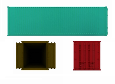projections of open and closed container on a white background photo