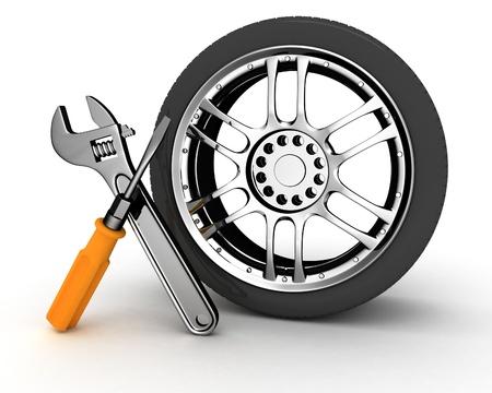 auto monteur: Wheel en hulpmiddelen. Car service. Geà ¯ soleerde 3D beeld Stockfoto