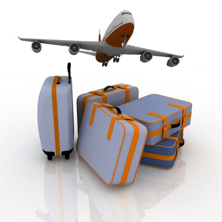 commercial airline: airliner and suitcases on white background