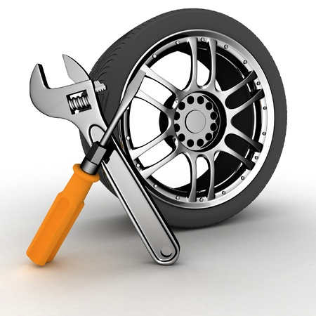 service occupation: Wheel and Tools. Car service. Isolated 3D image