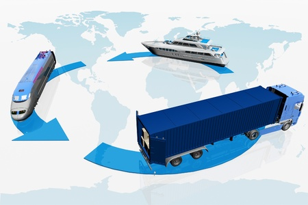 types of transport on a map of the world  background Stock Photo - 11845360