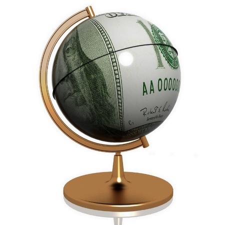 seize: dollar as globe on a white background Stock Photo