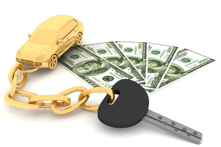 Autosleutel en dollars op de witte achtergrond