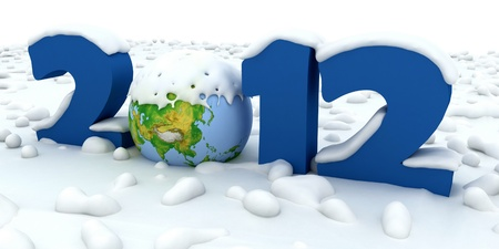New Year 2012. Number of powdered snow. photo