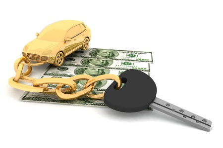 economise: Car key and dollars on the white background