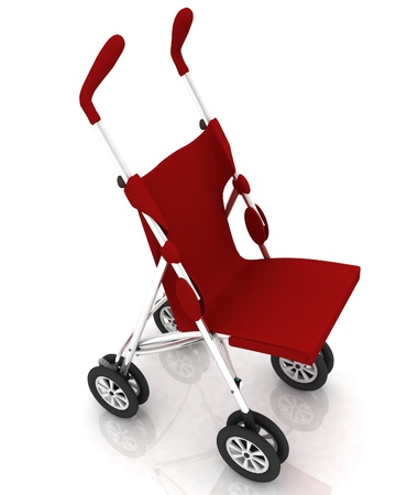 baby carriage: empty baby stroller over white Stock Photo